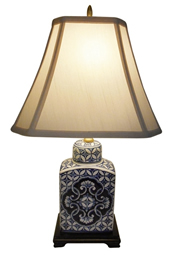 "22"" H. Blue and White Porcelain Tea Jar Table Lamp"