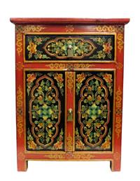 Tibetan End Table Black Orange Floral Pattern