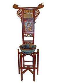 Antique Carved Oriental Elmwood Wash Stand