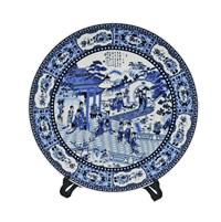 "14"" Chinese Porcelain Plate Painted Blue & White Lady Dancers With Stand"