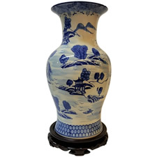 "Chinese Blue and White 14""Flower Vase with Canton Landscape Painting"