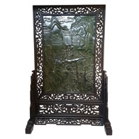 "Chinese Jade Table Screen on Wooden Stand 37"" High"