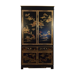 Oriental Armoire In Antique Black With Rich Gold Landscape