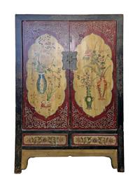 Tibetan Antique Hand Painted Armoire