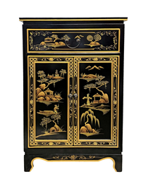 Oriental Shoe Cabinet Painted Landscape On Antique Black Finish