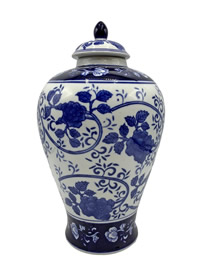 "12"" H Blue and White Porcelain Melon Jar with Lid"