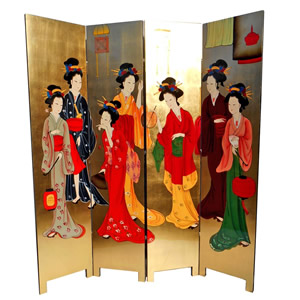 Four Panel Oriental Room Divider Hand Painted Geisha