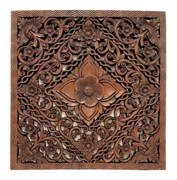 "Burmese Teak Panel Carved Lotus Design 24""H"