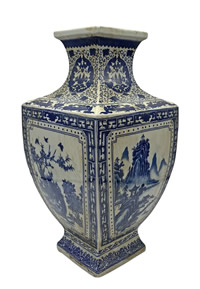 Blue and White Antique Finish Porcelain Vase with Landscape