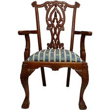 Victorian Chair Solid Mahogany Hand Carved with Blue and White Cushion