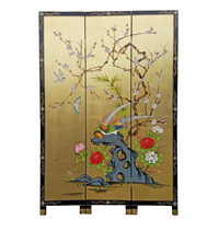 Oriental Folding Screen Gold Leaf Painted Pheasant