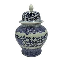 Blue and White Porcelain Jar in Flower Pattern