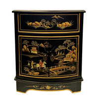 Oriental End Table Antique With Landscape