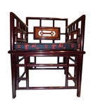 Striking solid rosewood Asian meditation chair with shiny finish & gold silk cushion.