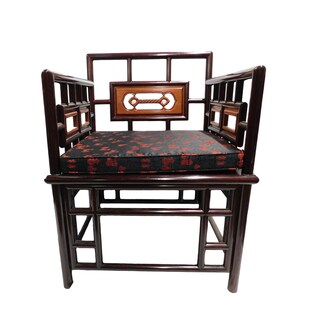 Rosewood Oriental Chair Hand Carved Rope Design.