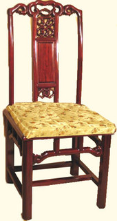 "38"" Tasteful solid rosewood Asian dining room chair with shiny finish & gold cushion."