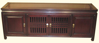 20?? high Elegant solid rosewood Chinese Ming style lowboy with shelf. Matte finish. 54??x14??x20??H