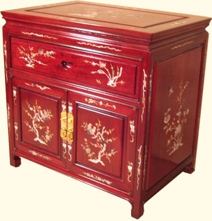 Oriental mahogany end table with mother of pearl inlay for Oriental furniture norwalk ct