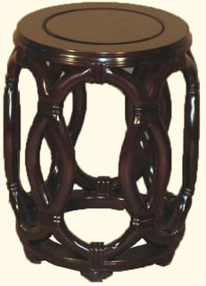 """33"""" Stately solid rosewood Oriental rope stool with shiny finish."""