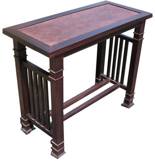 "30"" Stately solid rosewood Asian Mission style sofa table with rattan top."