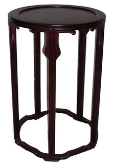 "20"" high Regal and delicate, yet sturdy solid rosewood Oriental table. 17""Dx20""H"