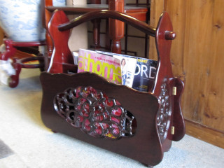 Rosewood Oriental Magazine Rack With Hand Carved Design
