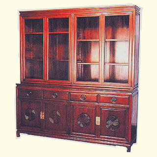 75?? Majestic solid rosewood Oriental china cabinet w long life carved design.