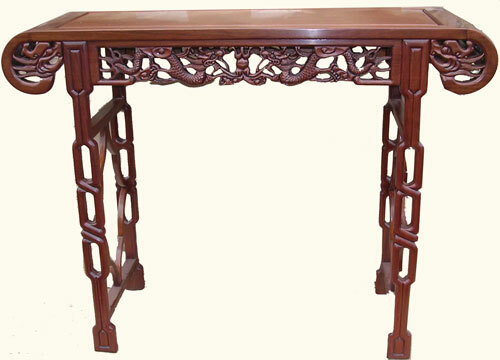 Alluring Solid Rosewood Chinese Cheng Leung Altar Table W Dragon Carving