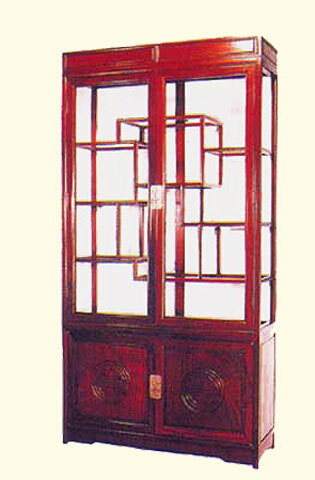 Oriental Curio Cabinet Carved Rosewood With Glass Display