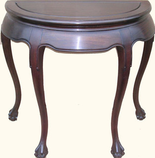 "32"" Elegant solid rosewood Oriental half moon table."
