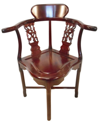 Oriental Corner Chair Hand Carved Solid Rosewood With Bird And Flower 33u0027H    Oriental Furnishings: Furniture U0026 Decor