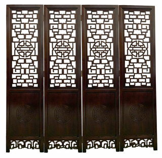Rosewood Asian Carved Room Divider With Chinese Long Life