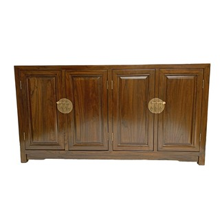32?? Eye-catching solid rosewood Oriental sideboard w gold latches and 2 adjustable shelves.
