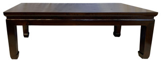 "48"" wide Rosewood Finish Oriental Coffee Table in Simple Ming Style"