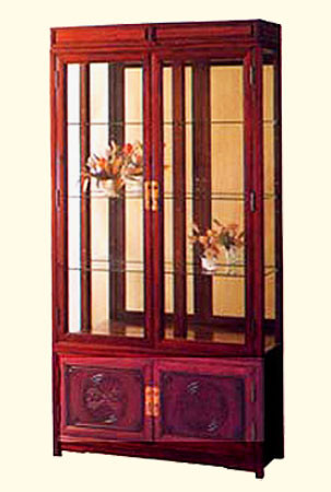China Display Cabinet in Oriental Rosewood with Lighted Mirror ...