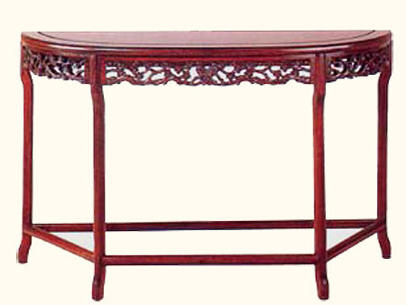 50 Inch Birds And Flowers Design Carved Half Moon Rosewood Table
