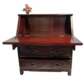 "35""w. Solid Rosewood Oriental Fold Down Desk Hand Carved Long Life with Four Drawers and Organizer"