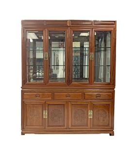 Oriental Rosewood China Cabinet Hand Carved Long Life Design