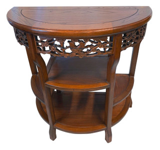 """32"""" W. Dragon Carved Chinese Half Moon Table"""