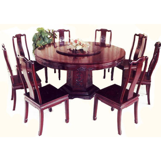 Oriental Dining Table: Oriental Round Dinning Table, Carved Wooden Pedistal Base