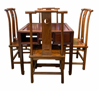 Rosewood Chinese Game Table Set With Chairs