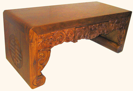 Hand carved Solid Camphor wood stool or low table with drawer
