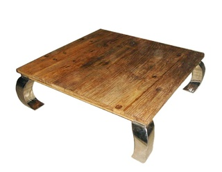 Oriental Chow Leg Coffee Table With Stainless Steel Legs