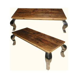 Asian Leg Coffee Table in Reclaimed Wood with Stainless Steel Legs