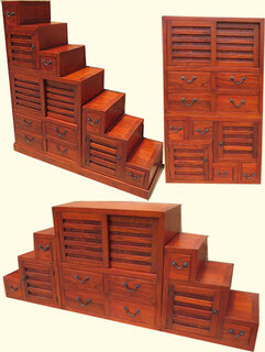 Double sided, modular step Tansu