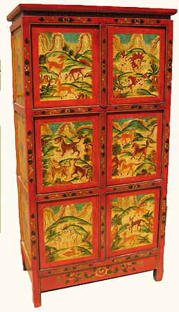Cabinet In Oriental Tibetan Style With Six Doors In