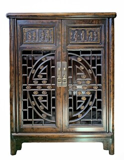 Carved Oriental Shoe Cabinet
