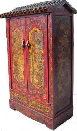 Tibetan Armoire With Pagoda Top Hand Painted Lacquer