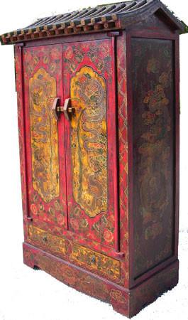 Pagoda Top Tibetan Armoire Oriental Furnishings