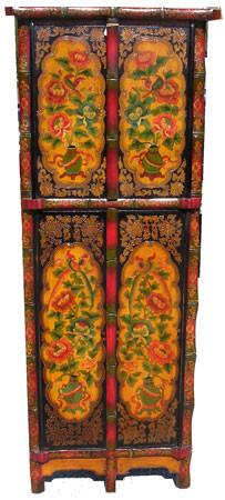 Oriental Corner Cabinet With Tibetan Influances With Four